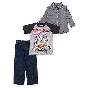 Grey 3 piece set: Raglan Tee, Pants & Button-up